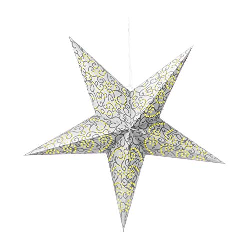 com-four luminous star in 3D with LED lighting in warm white for hanging, and stable paper star in silver (01x star - silver-colored)