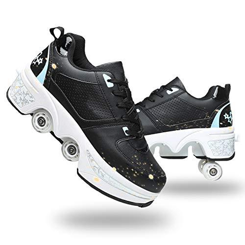 YUNWANG Patines de Ruedas Zapatos con Ruedas de Deformación de Doble Fila para Adultos e Patinaje para Niños Al Aire Libre Patines en Paralelo