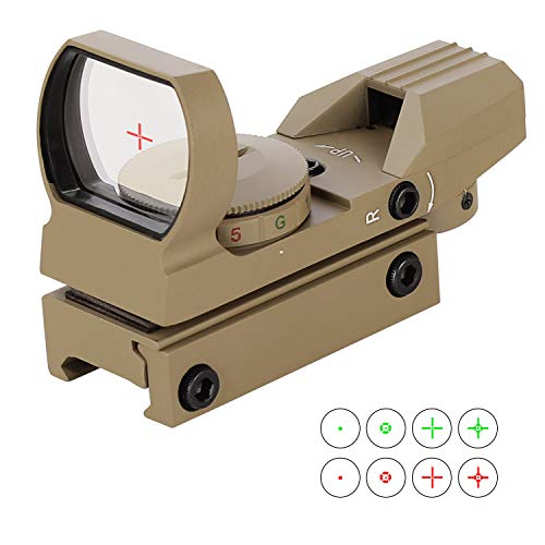 ESSLNB Red Green Dot Sight Reflex Sight Scope with 4 Reticles and 20/22mm Rail Mounts Waterproof Shockproof with 5 Adjustable Brightness (Sand-Color Sight Scope)