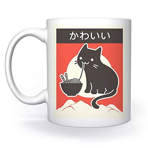 Clásico Estilo Japonés Ramen Gato Blanco Taza White Mug Cup