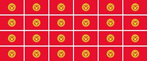 Mini Aufkleber Set - Pack glatt - 33x20mm - Sticker - Kirgisistan - Flagge - Banner - Standarte fürs Auto, Büro, zu Hause & die Schule - 24 Stück