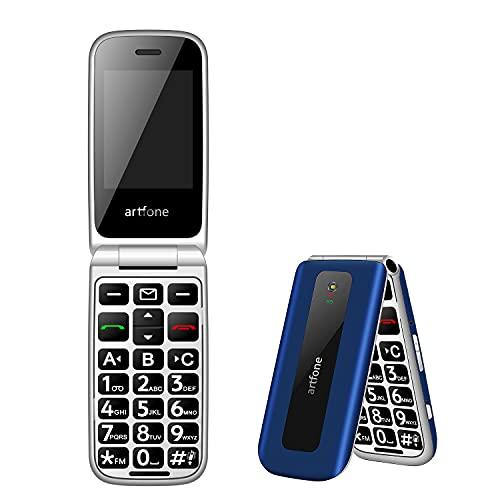 artfone Seniorenhandy ohne Vertrag, GSM Tastenhandy Dual SIM Handy, Klapphandy Mobiltelefon mit großen Tasten 2,4 Zoll, SOS Notruftaste & Mobiltelefon 1000 mAh Akku Lange Standby-Zeit, Blau