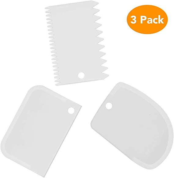 Dough Bowl Scraper Kit Multipurpose Curved Flat Edge Flexible Dough Scrapers Spatula Home Kitchen Flexible Scrapers For Food Processor Bowl & Kitchen Bowl Scraping Baking