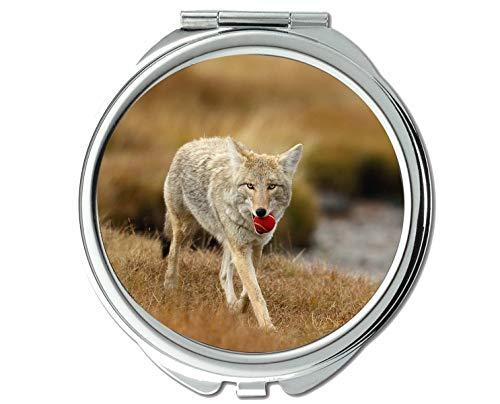 Yanteng Spiegel, Taschenspiegel, Animal Wolf Vinyl Taschenspiegel, 1 X 2X Vergrößerung
