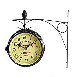 Muellery Vintage Double Sided Wall Clock Iron Metal London Kensington Station Wall Clock Art Clock Decorative Antique Wall Clock