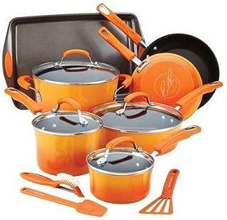 Rachael Ray Hard Enamel Nonstick Cookware Set, 14-pc - Orange