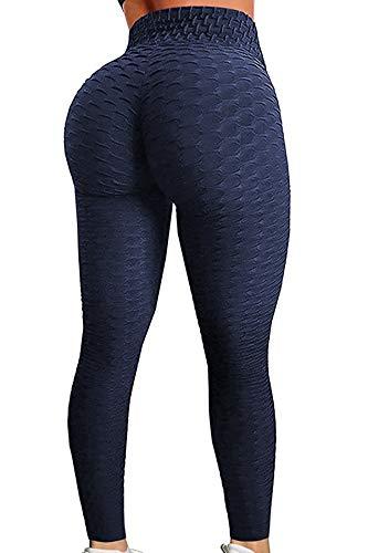 Pau1Hami1ton Leggins Mujer, Mallas Fitness Push Up Pantalones Deporte Running Yoga GP-11(Navy,M)
