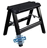 Elk & Bear Small Folding Step Stool for Adults or Kids Aluminum Ladder Great for Kitchen, Bathroom, RV, Closet, Garage, Garden (Black)