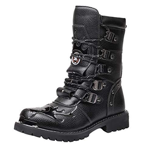 HDUFGJ Herren Stiefel Mittlere Stiefel Motorradstiefel Boots rutschfest Chelsea Boots Lederstiefel Sneaker Trekking- & Wanderstiefel Leather Reißverschluss Stiefeletten wasserdicht 43 EU(Schwarz)