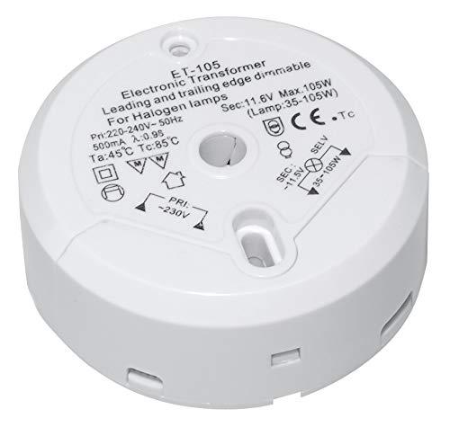Transmedia LT5-3L Halogen-Trafo 230V auf 12V, 35-105W, mit Überlastungsschutz und Temperatursicherung, dimmbar, Ø 85 x 31 mm