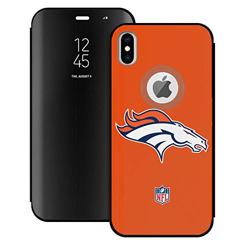 Head Case Designs Officially Licensed NFL Plain Denver Broncos Logo Black Mirror Flip Stand Case Cover Compatible With Apple iPhone XS Max