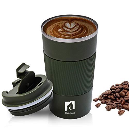 HomeMall Thermobecher, Kaffeebecher to go Becher, 510ml Vakuum Auslaufsicher Reisebecher mit Deckel, Edelstahl Isolierbecher Kaffeebecher für unterwegs-Armeegrün