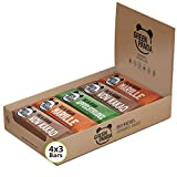 Barritas veganas, Snack Paleo vegano puro, crudo y con ingredientes orgánicos. Barritas energéticas 12 x 30 en una caja de Green Panda (Los 3 sabores)