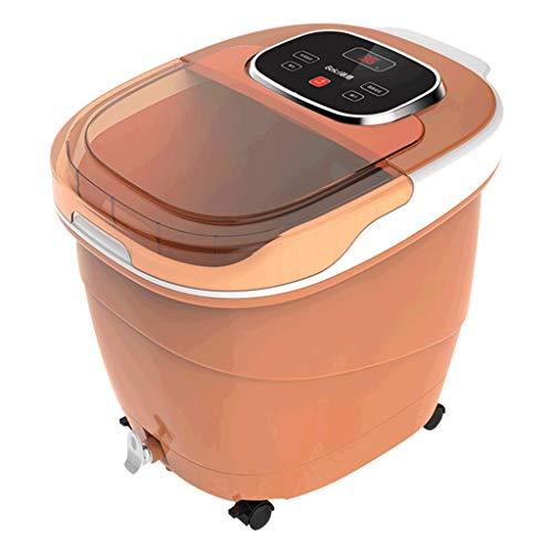 JIA JU Massaggiatore Plantare Portatile per Piedi con Piede Elettrico con Riscaldamento e Massaggio Punto Bolle TENKER Foot Spa Bath Massager (Colore : Brown)