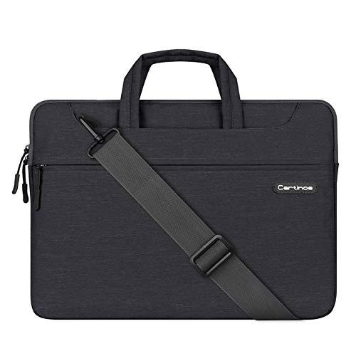 JINXIUCASE 15.6 inch Business Style Women Men Laptop Shoulder Bag Laptop Briefcase Tablet Protective Bag Waterproof Computer Sleeve Case Messenger Bag (Color : Black, Size : 15.6inch)
