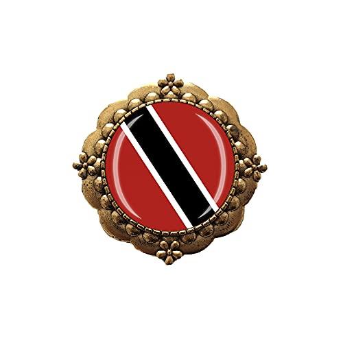 Broche con diseño de bandera de Trinidad y Tobago para decoración de ropa, insignia dorada