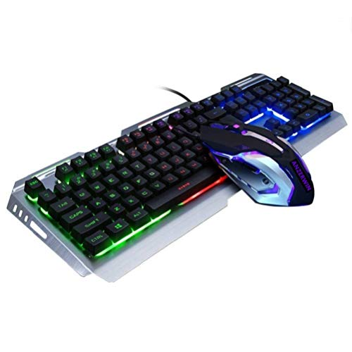 Gaming Keyboard Mouse Combo Wired,Color Changing LED Backlit Computer Gaming Keyboad,Lighted PC Gaming Mouse,USB Keyboard Clicky Keys,Durable Metal Structure,for Xbox One PS4 Games Gamer Working