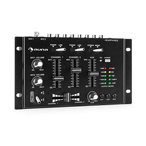 auna TMX-2211 MKII DJ-Mixer Mischpult, 3/2-Kanal, 2x6,3-mm-Mic-In, 2 x RCA-LineIn mit Phono-Switch, RCA-AuxIn, Crossfader, Talkover Funktion, Kopfhörer-Ausgang mit Cue Funktion, Rack-Einbau, schwarz