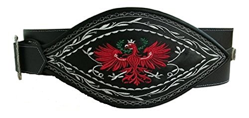 Ranzen Adler Leder Trachtengürtel, Federkiel-Optik, Schwarz, Gr. 95-130 (Gr.105)