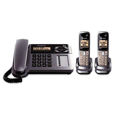 Panasonic KX-TG1062M DECT 6.0 Corded/Cordless Phone with Answering Machine, Metallic Gray, 2 Handsets