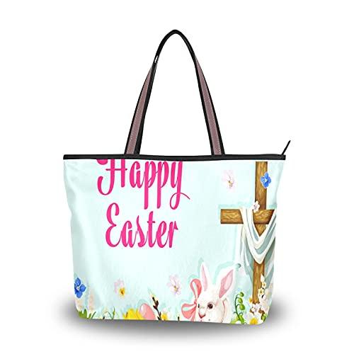 Sac fourre-tout lapin de chasse aux œufs de pâques avec croix pour mère femmes filles dames sac à main étudiant Shopping sacs à main sacs à bandoulière sangle légère