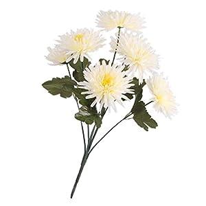 GzxLaY Silk Artificial Flower Chrysanthemums Bouquet Memorial – Cream, 58cm