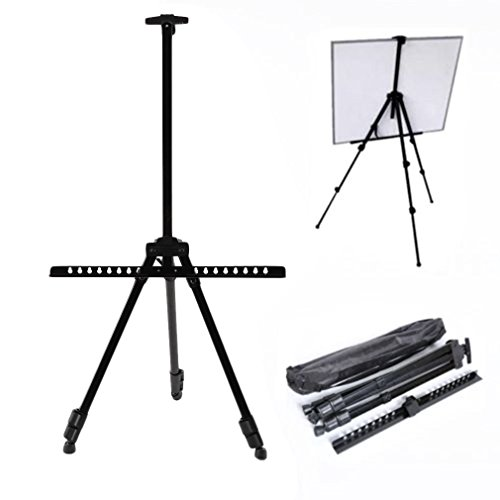 JTW-Folding Extremely strong lightweight Best Artist Display Easels Adjustable Tripod Display Stand metal Bearable Weight 12kg W/ Carry bag of black color