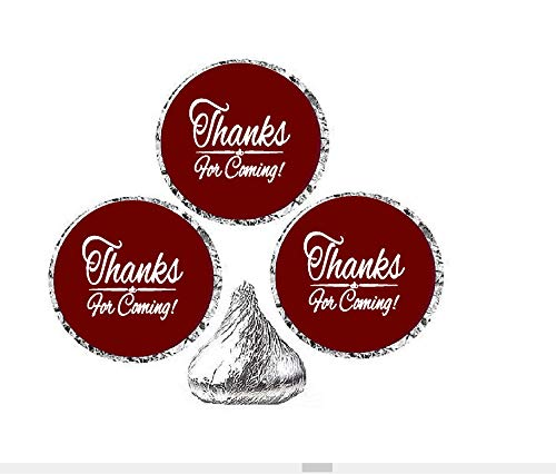 216ct Burgundy Thanks for Coming Party Favor Hersheys Kisses Candy Decoration Stickers / Labels