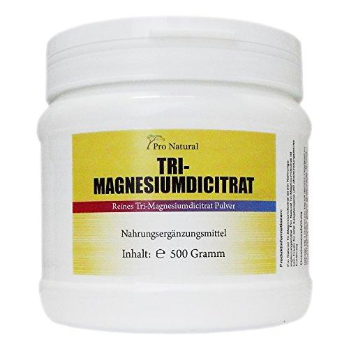 Magnesium Citrat 500 g veganes Pulver hochwertiges Tri-Magnesiumdicitrat wasserfrei