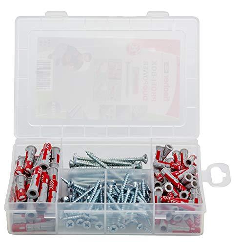 fischer - Caja pequeña surtida de tacos y tornillos fischer Duopower + Tornillo (160 uds) para todos los tipos de materiales de construcción, tacos Duopower para materiales huecos y macizos