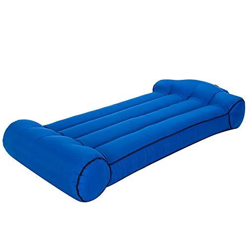 PLMOKN Tragbares aufblasbares Bett Sand Freizeitliege Bequemes Sofa im Freien Camping Luftbetten Innencouch Faltbare Schlafsackmatratze(S, Blue)