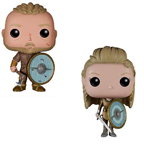 2 Piezas Pop Vikings 178 # Lagertha 177 # Ragnar Lothbrok Modelo con Caja Figura De Colección Modelo De Juguete para Regalo