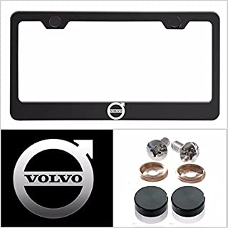 UFRAME Fit Volvo Laser Engraved Logo License Plate Frame Made of Industrial Grade Powder Coated Black Matte Black Stainless Steel w/Caps and Accessories