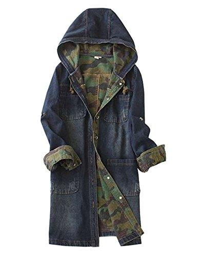 COCO clothing Lange Jeans Kapuzenjacke Damen Freizeit Denim Mäntel Frauen Hoodie Coat Lang Ärmel ParkaWarme Streetwear College Übergangsjacke Winddicht (XL)