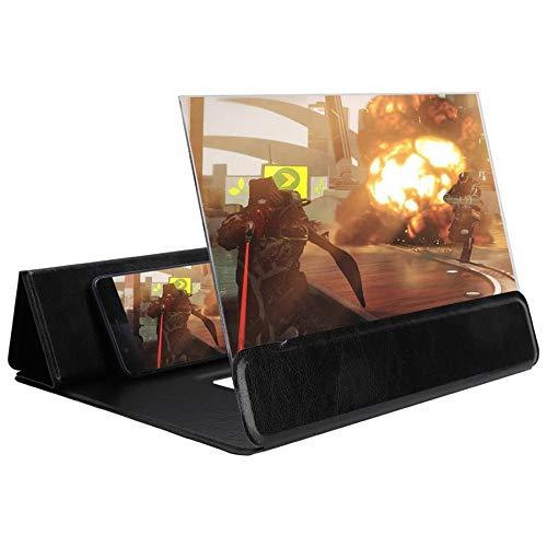 TWWYJGC Amplificador De Pantalla para Teléfono Móvil De 12 Pulgadas Soporte para Lupa De Video 3D HD para Teléfono Móvil Ampliador De Pantalla HD Negro