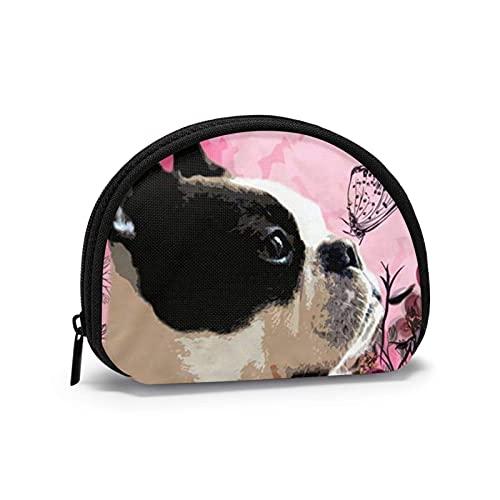 Rosa Bulldog Mariposas lindo divertido impreso temático cambio monedero lindo Shell almacenamiento bolsa niña carteras Bule monederos clave bolsa Gifys mujer novedad