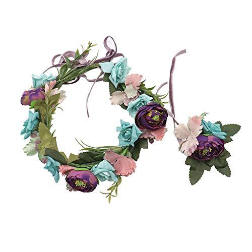 LYM Fleur Guirlande Fleurs Guirlande Bandeau Mariage Festival féminin Cheveux Accessoires (Couleur : A)