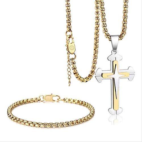 ZJJLWL Co.,ltd Collar Collar Hombres S Conjunto de Joyas Caja Enlace Cruz Colgante Collar Pulsera Conjunto Acero Inoxidable Joyería Religiosa Regalo