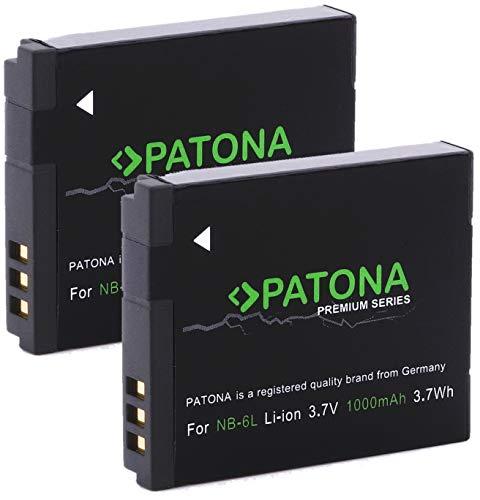 PATONA Premium Akku (2x) - Ersatz für Canon NB-6L (echte 1000mAh) zu Canon PowerShot D30 SX170 SX240 SX260 SX270 SX280 SX500 SX510 SX520 SX530 SX540 SX600 SX610 SX700 SX710 S90 S95 S120 S200