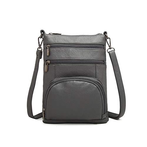 Kono Women Multi Pocket RFID Blocking Crossbody Bag Small Fashion PU Leather Messenger Travel Organizer Satchel Sling Shoulder Bags (Grey)