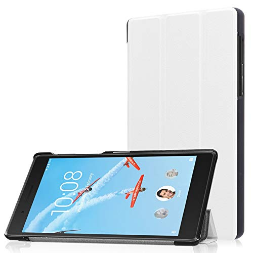 Funda Protectora para Tablet Lenovo Tab 7 / Tab 4 (TB-7504F / TB-7504N / TB-7504X) Tri-Fold Custer Textura Horizontal Flip Funda Protectora de Cuero PU con Soporte (Color : Blanco)