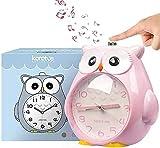 QIXIAOCYB Reloj Despertador for niños sin tictac Reloj de búho con la Noche de Noche Dormitorio Snooze Función Reloj Reloj Alarma ruidable for niños Funcional OPERADO-Green (Color : Pink)