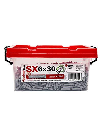 fischer 503313 Box Taco Nylon SX 6X30-1.000, Gris, Cubo con 1.000 uds