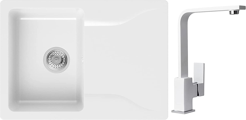 PRIMAGRAN Fregadero de Granito 70 x 50 cm, Lavabo Cocina Un Seno + Mezclador de Fregadero + Sifón Clásico, Fregadero Empotrado Philadelphia, Blanco