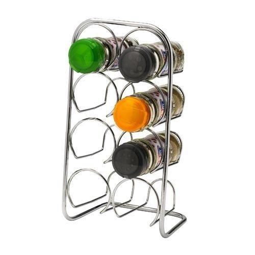 Estante de especias Pisa®, soporte de metal cromado, metal, 8 Jar Cap