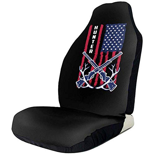 Fall Ing Caza de ciervos Bandera americana Cute Print Fundas de asientos delanteros Funda de asiento automático