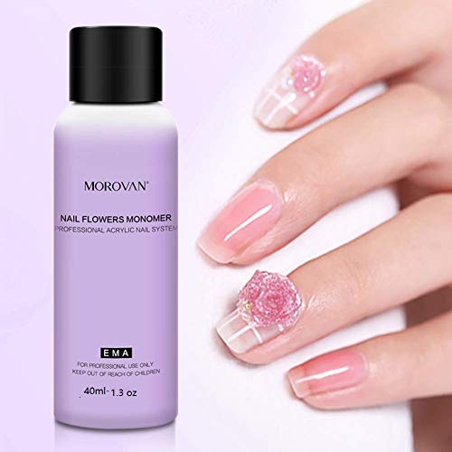 Acrylic Liquid Nail For Beginners 1.3 oz Monomer Acrylic Nail Liquid For Nails Paint Carving Nail Art Extension(40 ML Acrylic Liquid)