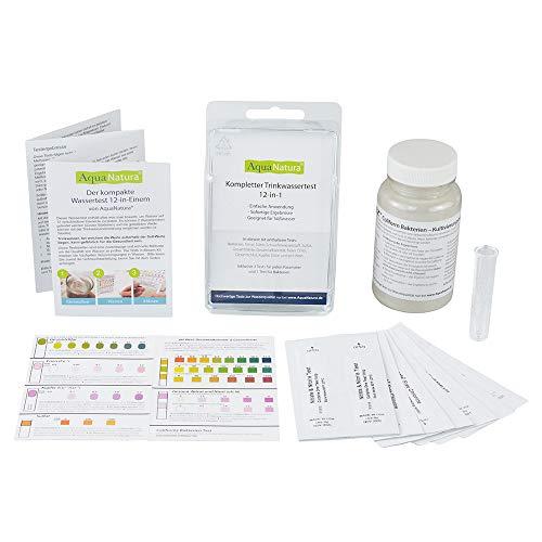 AquaNatura Trinkwasser Wassertest (12 versch. Tests in 1) u.a. Eisen/Kupfer/pH/Gesamthärte (GH)/Nitrit/Nitrat/Karbonathärte (KH), 25 Tests, schnelle Ergebnisse