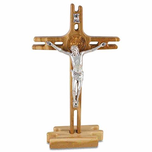 Stehkreuz Standkreuz Altarkreuz Olivenholz mit Benediktusmedaille & Metallkorpus 19,5 x 11,5 cm Trauerkreuz