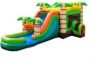 TentandTable Tropical Wet Dry Mega Bounce House Tunnel Front, Slide Climbing Wall Combo, Commercial Grade Inflatable, Blower Included